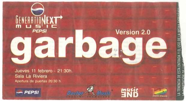 Entrada del concierto de Garbage
